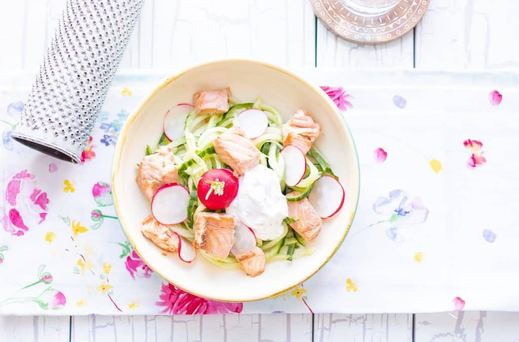 Cucumber-radish-salmon bowl