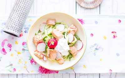 Cucumber-radish-salmon bowl