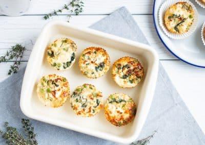 Grüne Bulgur-Ricotta-Muffins