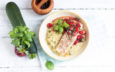 Lachs-Risotto mit Erdbeeren
